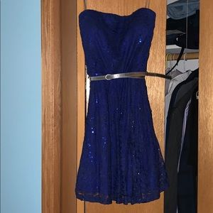 Strapless Blue Lace Party Dress